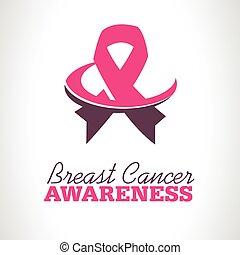 Pink Ribbon Awareness Logo Icon