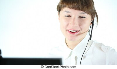 customer support - female operator talking with customer...