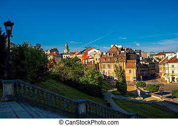Lublin old city center - Old cityscape view near Lublin...