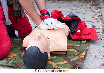 First aid - Cardiac massage. Cardiopulmonary resuscitation...