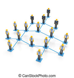 Company organization chart, 3d render, white background