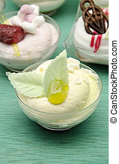 Mousse cold whipping cream with jam and fruit