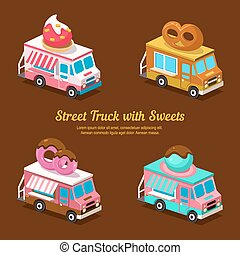 Sweets Food Truck, sweet isometric vector illustration