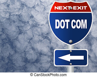 Dot com road sign