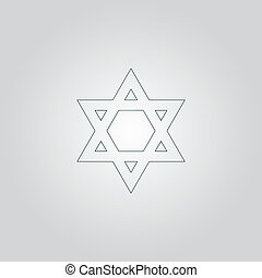 Star of David Flat web icon or sign isolated on grey...