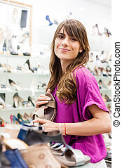 woman in a shoes shop