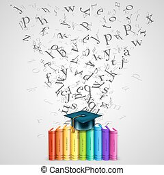 Books color with flying letters