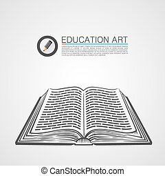 Open book sketch art sign. Vector illustration