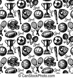 Hand drawn sketch sport seamless pattern with balls. Vector...