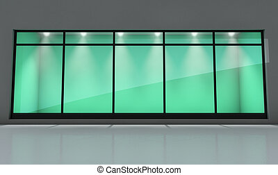 Shop Window Display - An empty shop front window display in...