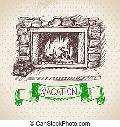 Vintage hand drawn sketch family vacation background....