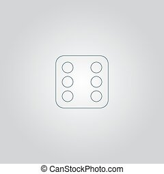 One dices - side with 6 Flat web icon or sign isolated on...