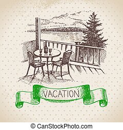 Vintage hand drawn sketch family vacation background Getaway...
