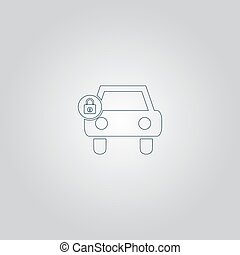 car lock icon - Car lock. Flat web icon or sign isolated on...