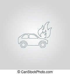 Car fire icon - Car fire Flat web icon or sign isolated on...