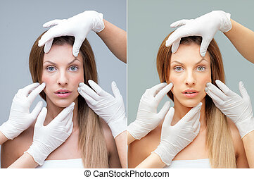 beautiful face being examinated plastic surgeons hands