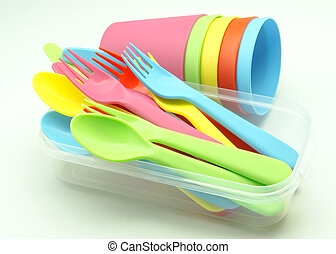 Plastic cups and forks