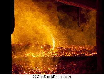 Fire in big furnace - Orange fire in big furnace - power...