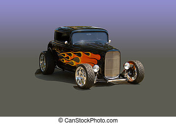 Deuce Coupe with Flames - This is a Deuce Coupe in the...