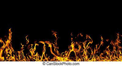 Fire flames on black background set nuber 3
