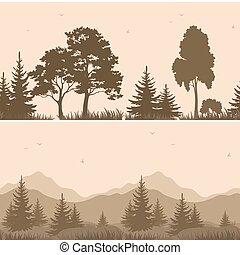 Seamless Mountain Landscape with Trees Silhouettes - Set...