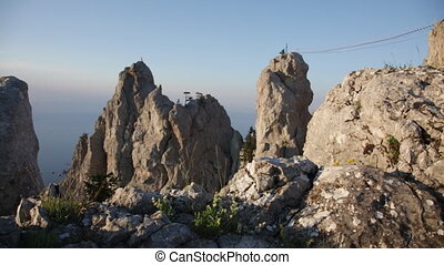 Beautiful view of teeth Ai-Petri and the rope bridges stretched to them, the Crimea