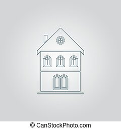 house icon - Simple old house Flat web icon or sign isolated...