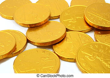 Chocolate gold coins, landscape view
