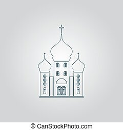 Vector church icon - Church Flat web icon or sign isolated...