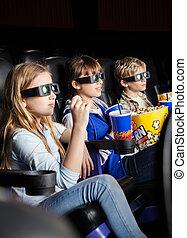 Children Watching 3D Movie In Theater