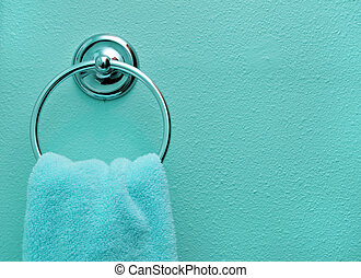 Teal Bathroom Towel - Close up background of a teal bathroom...