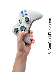 Hand holding video game controller - Hand holding a video...