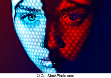 Women face art graphic color lights - Face art graphic color...