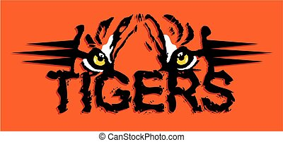 tigers design with eyes and stripes