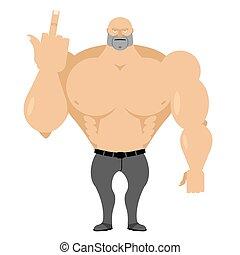 fort, homme, dans, jean, à, grand, muscles,...