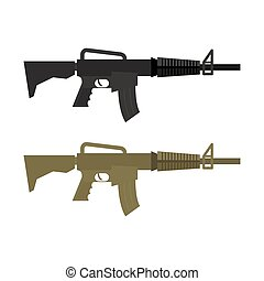 Army Military machine gun. Set of two martial infantry weapons. Rifles soldier of  special squad. Vector illustration