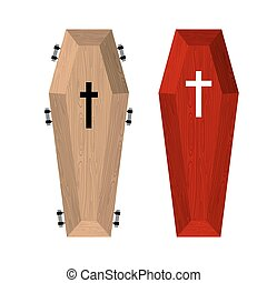 Set of coffins. Red beautiful expensive coffin and a wooden...