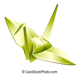 paper crane,origami - illustration drawing of beautiful...