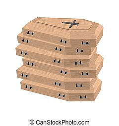pile of coffins Many coffins for dead Vector illustration of...