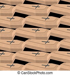 Wooden coffins seamless pattern Vector background cemetery