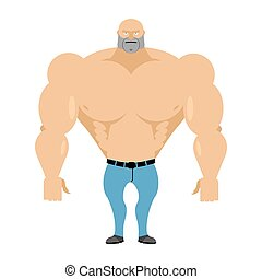 Strong man bare-chested in blue jeans. Athletic body with huge muscles. Bodybuilder on a white background. Vector illustration Man fitness model.