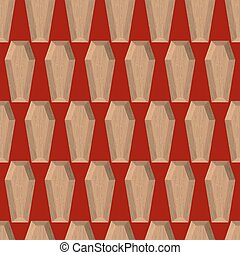 Coffins seamless pattern on a red background. Wooden coffin. Vector background cemetery.