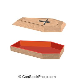 Open coffin on a white background. Lid of a coffin with a cross. Wooden coffin with red trim inside. Vector illustration