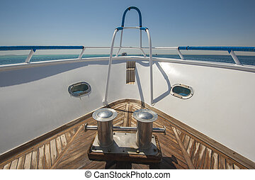 Bow of a luxury motor yacht - View from the bow of a luxury...