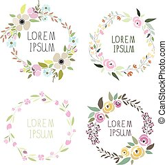 vector illustration of a floral wreath set with signatures