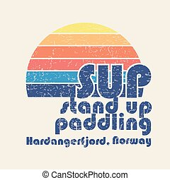 "vector illustration with signature ""SUP stand up paddling Hardangerfjord, Norway"" in flat design style on textured background as template for yuor design, article or print"