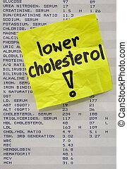 más bajo, su, colesterol, concepto