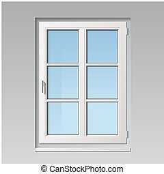 vector window - modern detailed white vector window...