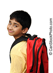 Back to School - An handsome Indian kid happy to go to...