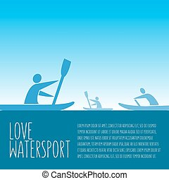 """vector illustration with signature """"love watersport"""", text..."""